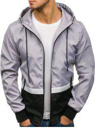 Contract Color Drawstring Hooded Jacket -