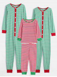 Striped Print Family Christmas Pajamas -