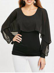 Solid Color Capelet Top with Long Sleeve -