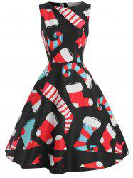 Vintage Christmas Graphic Sleeveless Dress -