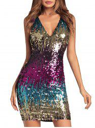 Colorful Sequin Sheath Dress -