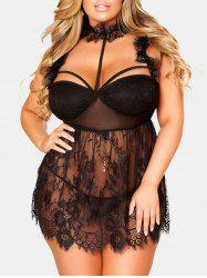 Plus Size See Thru Lace Choker Lingerie Dress -