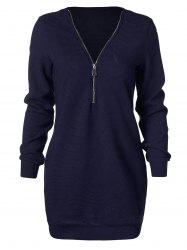 Longline Sweater with Half Zipper -