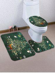 Christmas Tree Elk Pattern 3 Pcs Toilet Mat Set -