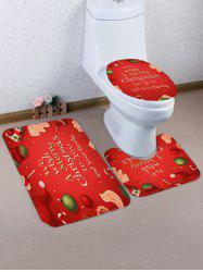 Christmas Blessing Letters Pattern 3 Pcs Bath Mat Toilet Mat -