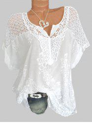 Floral Embroidery Hollow Out Shirt -