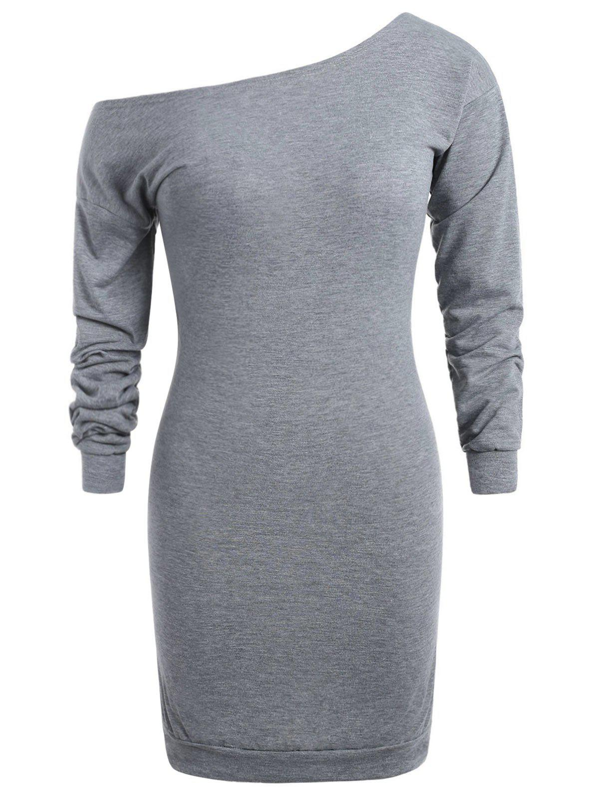 34% OFF] Plus Size Skew Neck Sweatshirt Dress | Rosegal