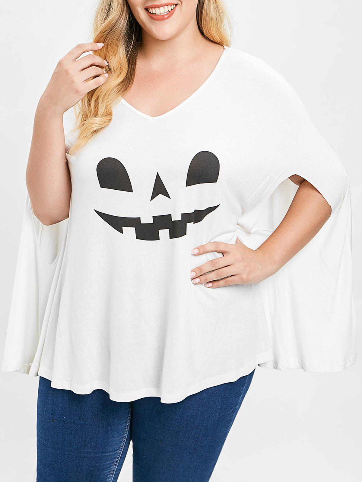 Discount Plus Size Halloween V Neck Poncho T-shirt