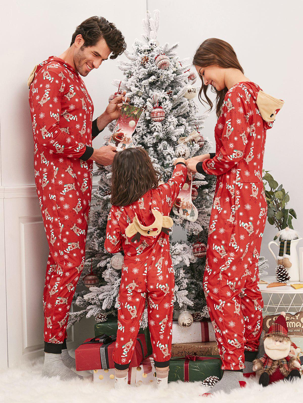 Outfit Family Christmas Elk Hooded Jumpsuit Pajama