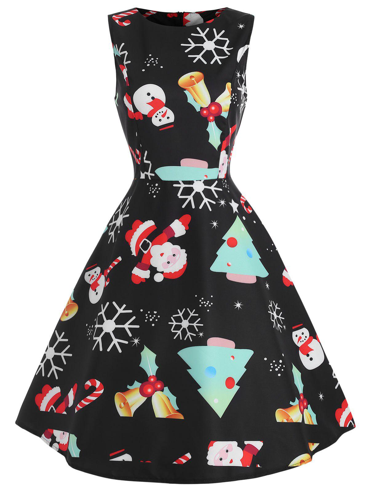 Fancy Christmas Graphic Fit and Flare Dress