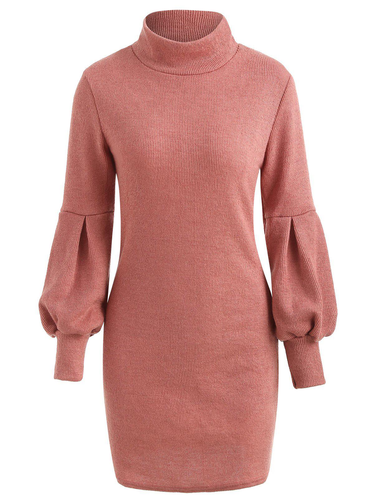 Puff Sleeve Mini Sweater Dress, Pink