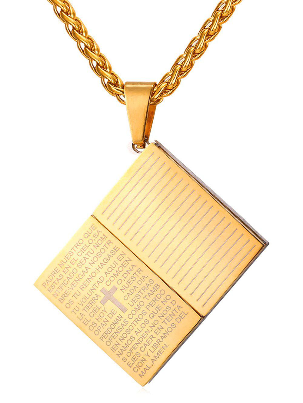 Hot Stainless Steel Bible Shape Pendant Necklace