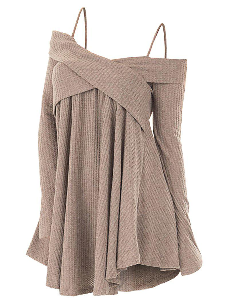 Affordable Open Shoulder Crisscross Tunic Sweater