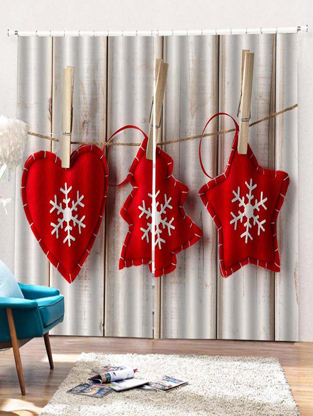 New 2PCS Christmas Snowflake Wooden Pattern Window Curtains