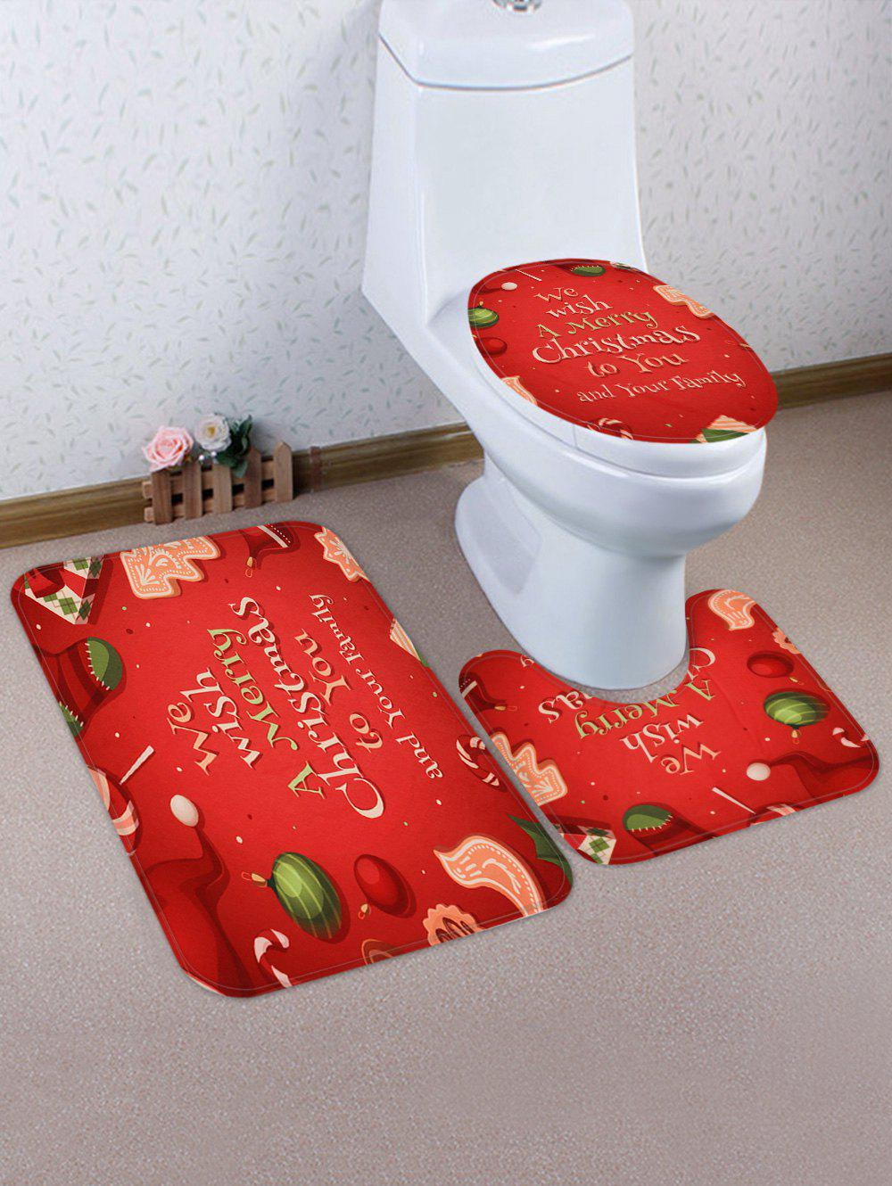Trendy Christmas Blessing Letters Pattern 3 Pcs Bath Mat Toilet Mat