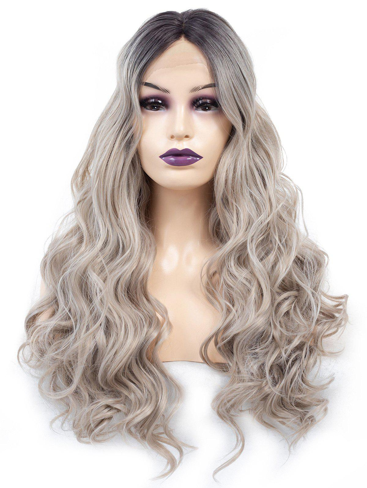 Outfit Middle Part Long Colormix Wavy Lace Front Synthetic Wig