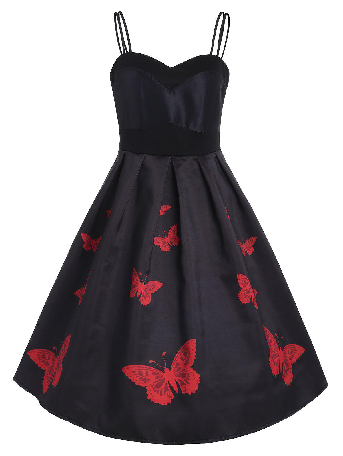 Buy Sleeveless Retro Butterflies Dress