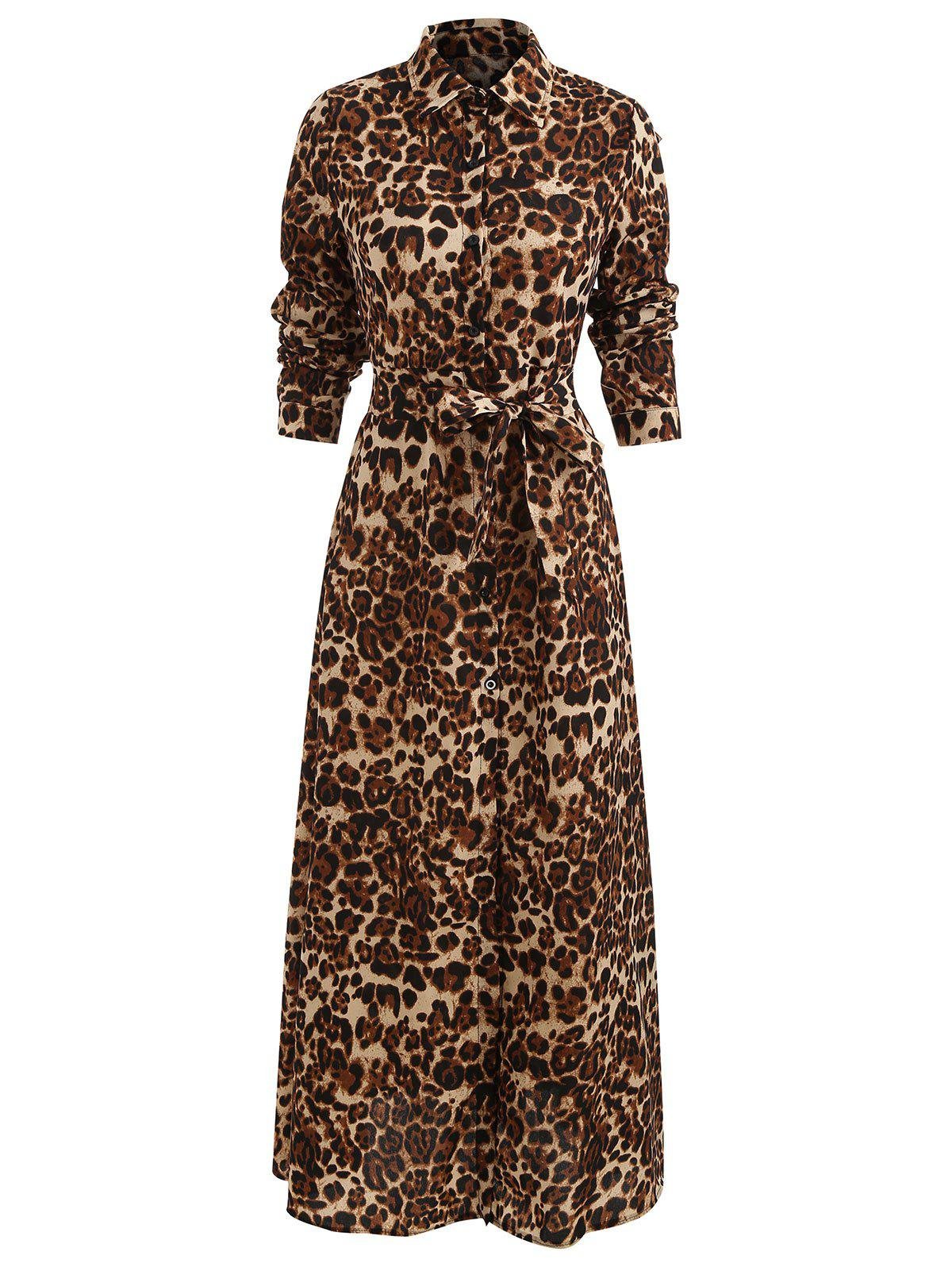 Fancy Leopard Print Slit Maxi Dress