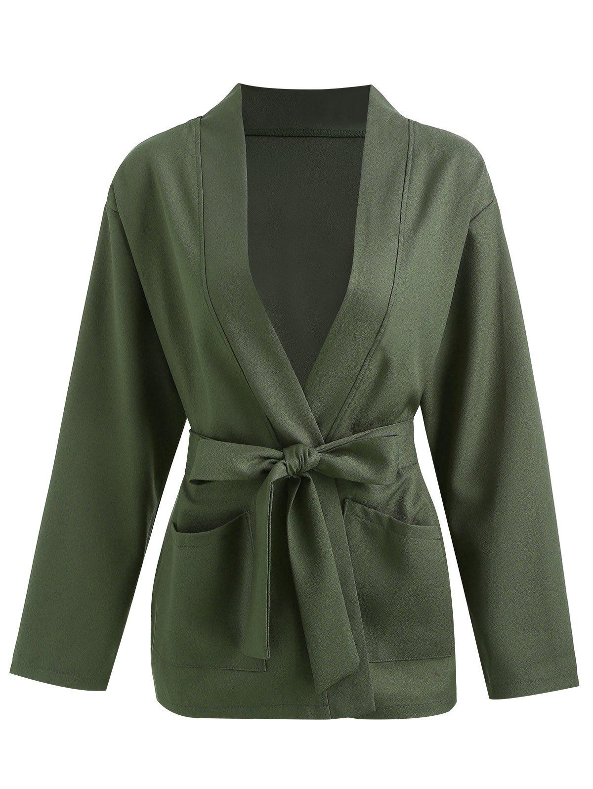 Chic Double Pocket Belted Open Coat
