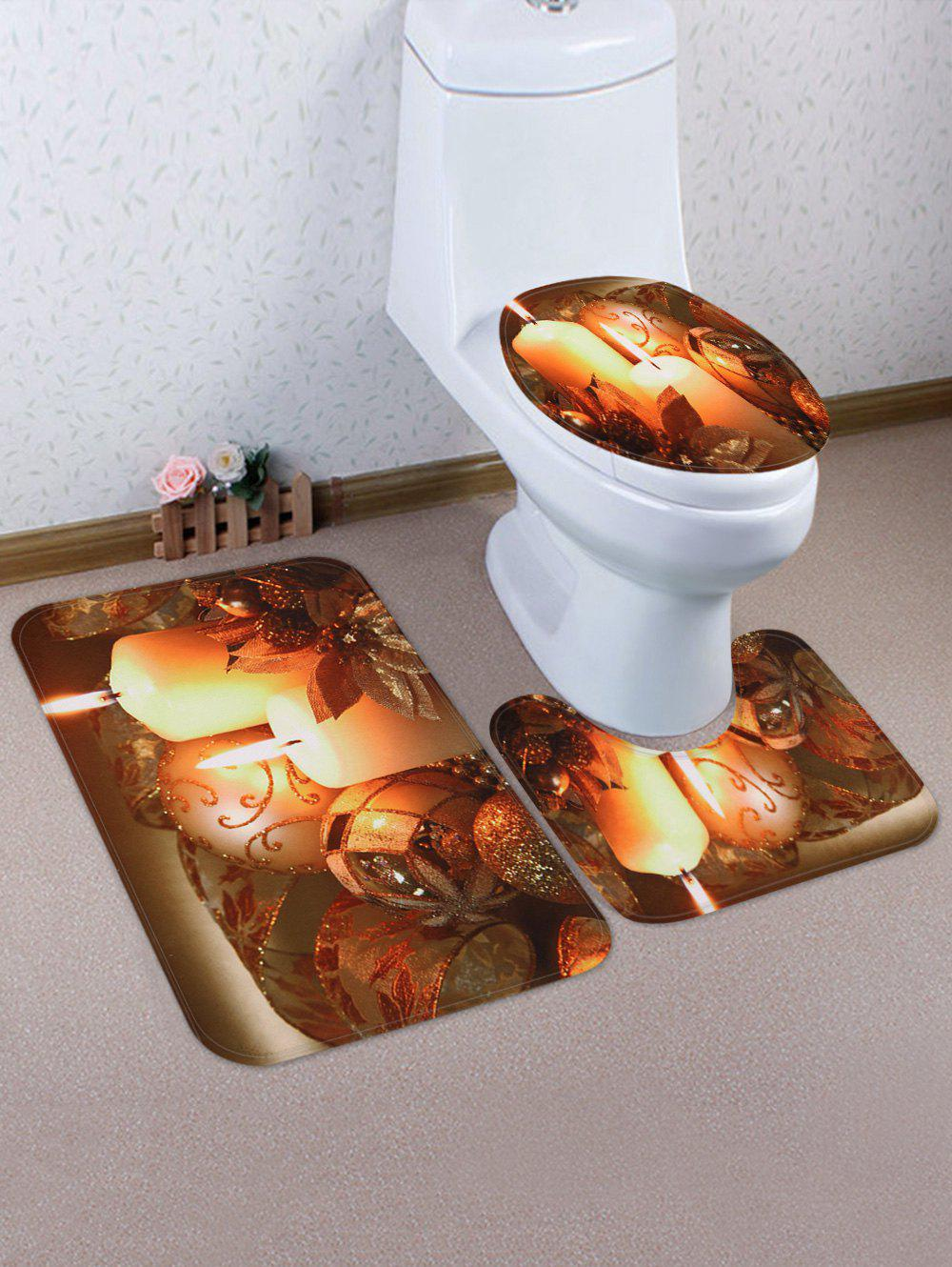 Discount Christmas Ball Candle Pattern 3 Pcs Toilet Mat Set
