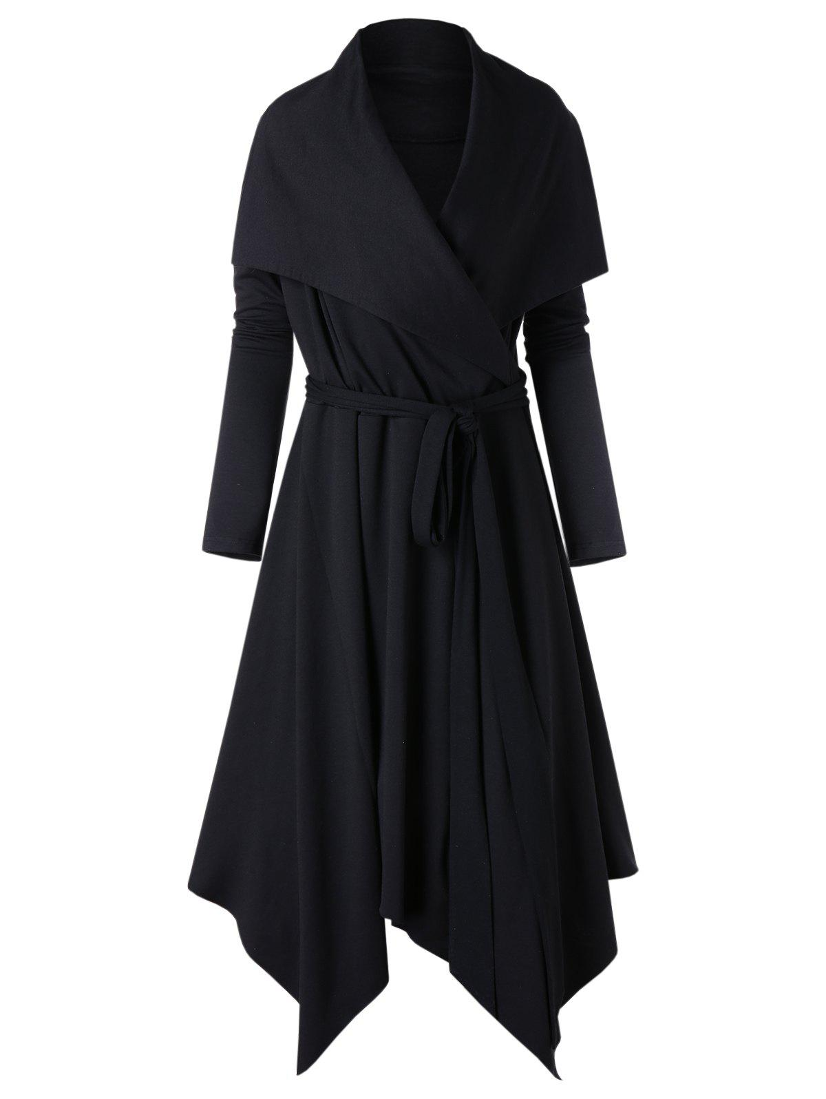 Chic Turn Down Collar Plus Size Asymmetrical Coat