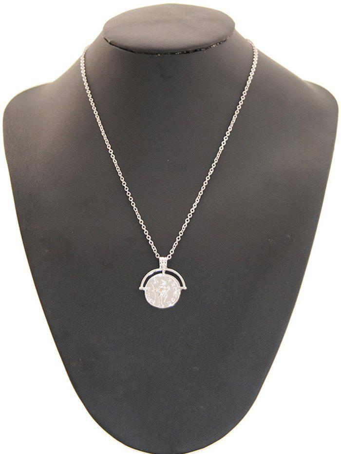 Fancy Round Coin Shape Alloy Pendant Necklace