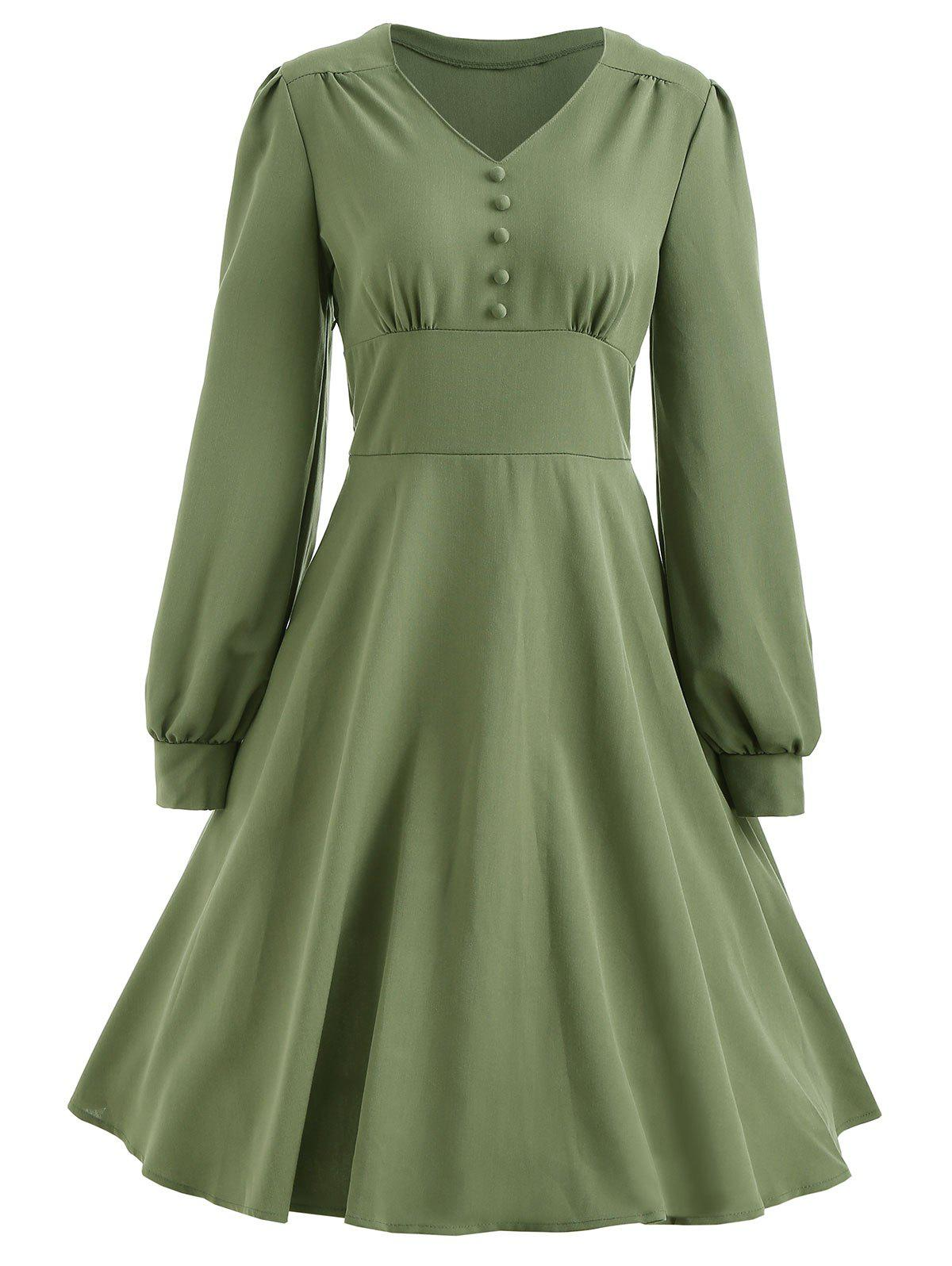 Store Long Sleeve Button Vintage Dress