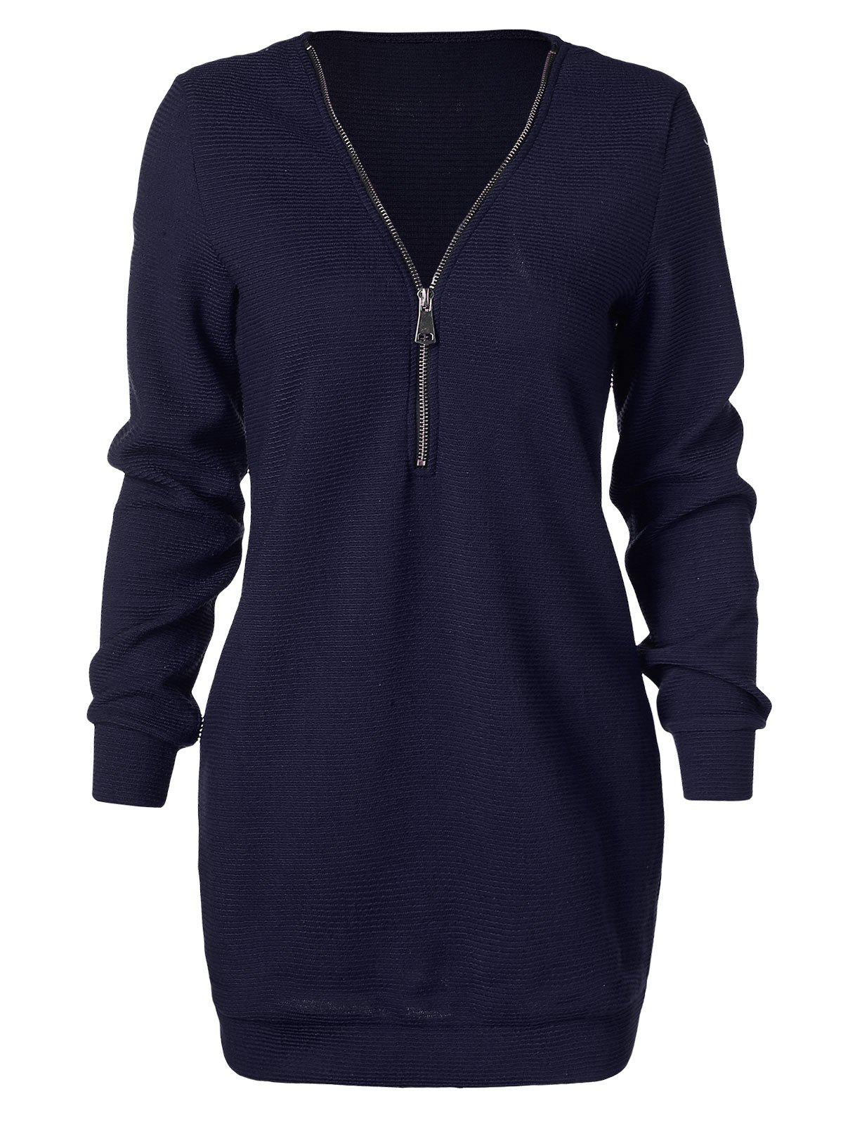 Outfits Longline Sweater with Half Zipper