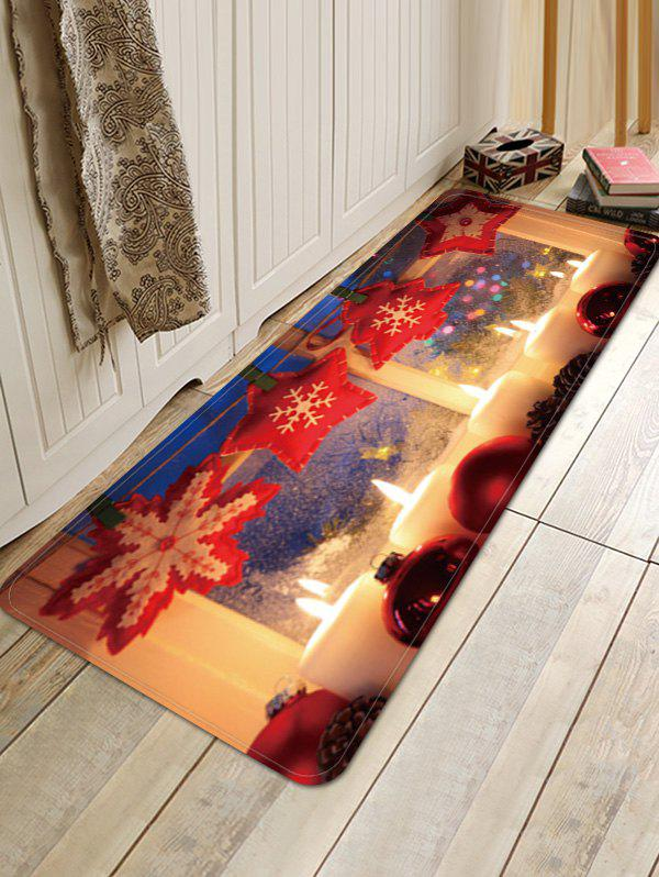 Sale Christmas Candle Balls Pattern Water Absorption Area Rug