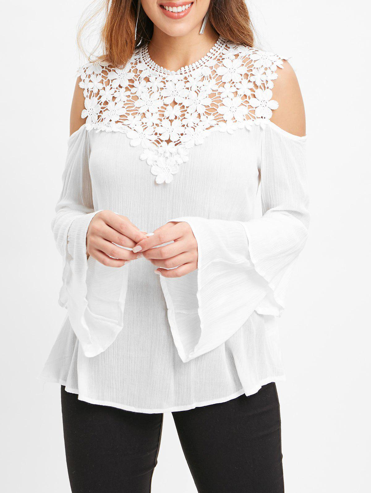 21bdf6e8d007b 54% OFF   2019 Lace Insert Cold Shoulder Bell Sleeve Blouse ...