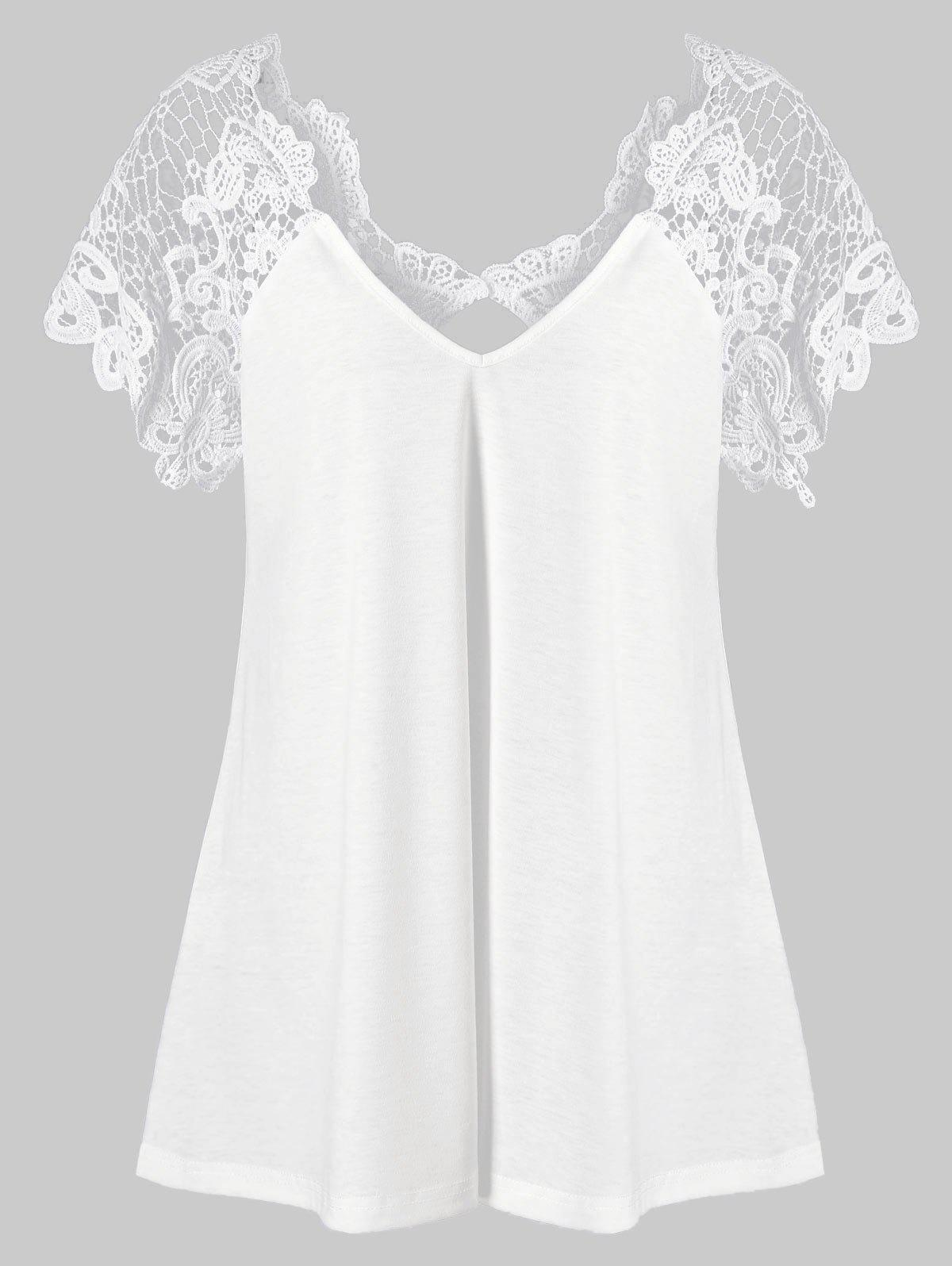 Sale V Neck Plus Size Lace Trim Cutwork T-Shirt