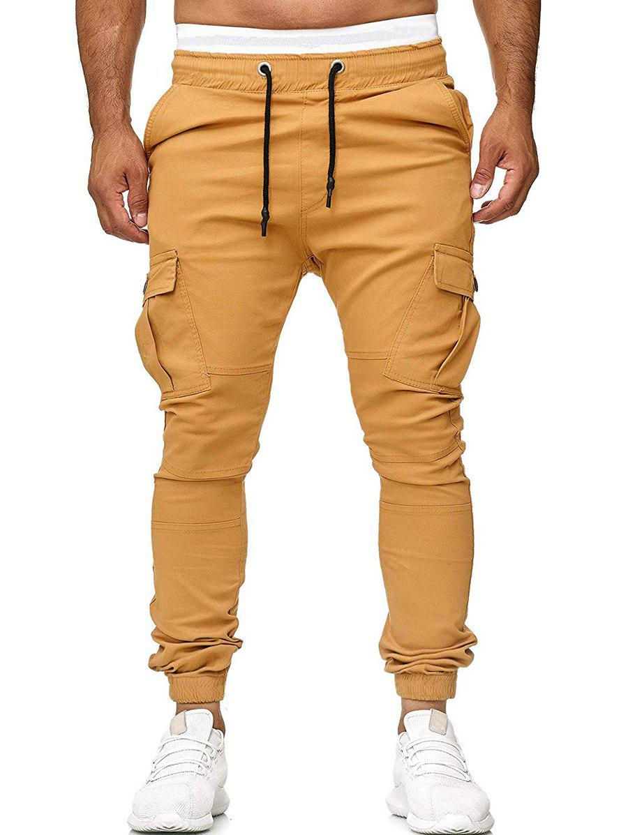 Fashion Multi Pocket Drawstring Jogger Pants