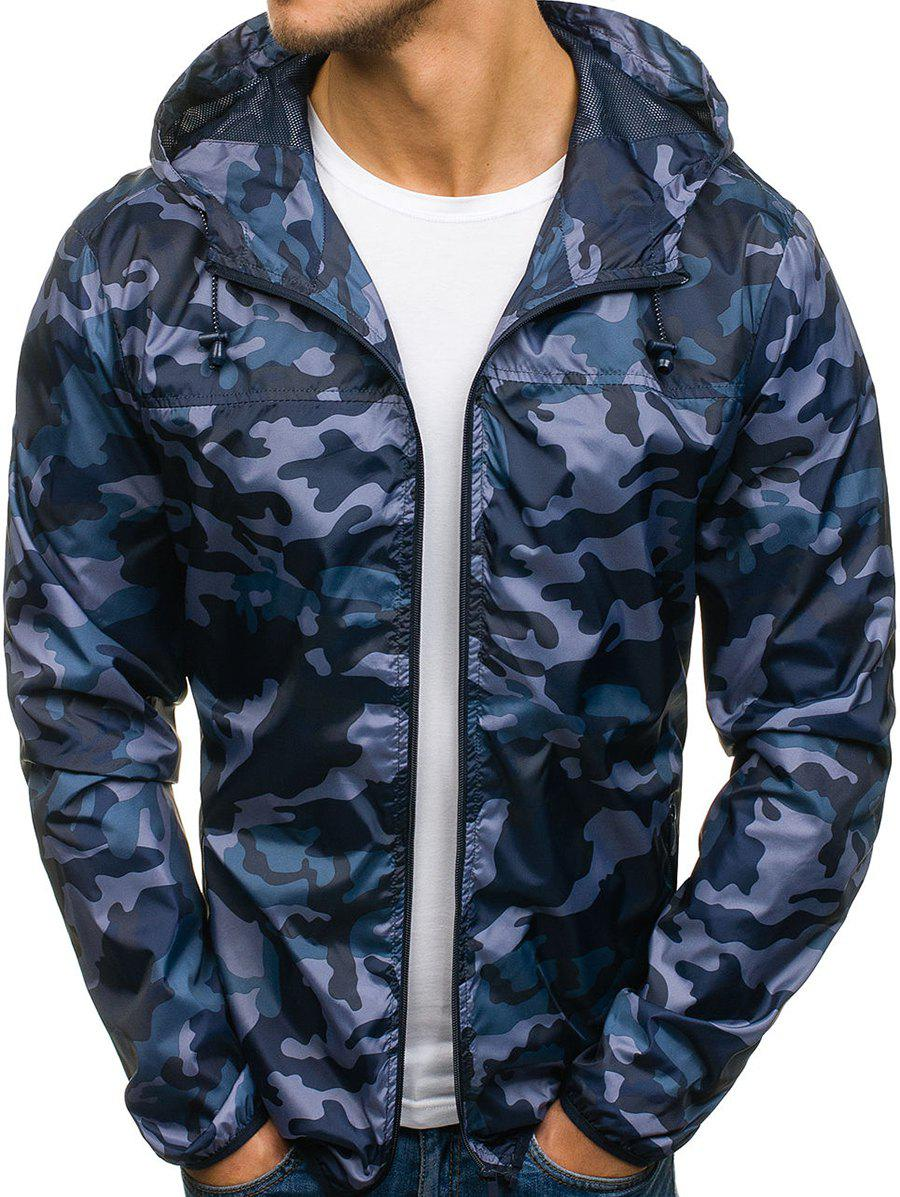 Shops Camouflage Pattern Zip Fly Hooded Jacket