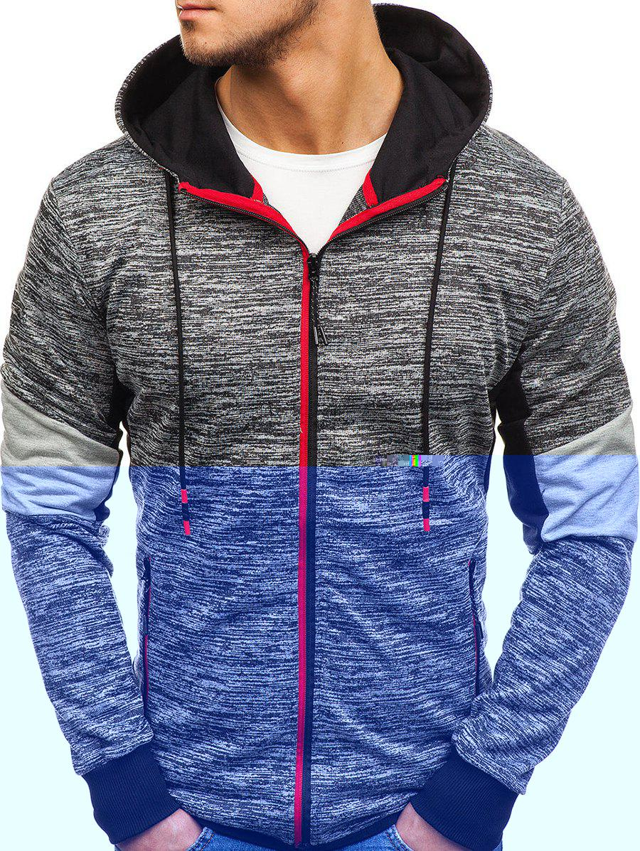 Store Color Spliced Zipper Drawstring Hoodie