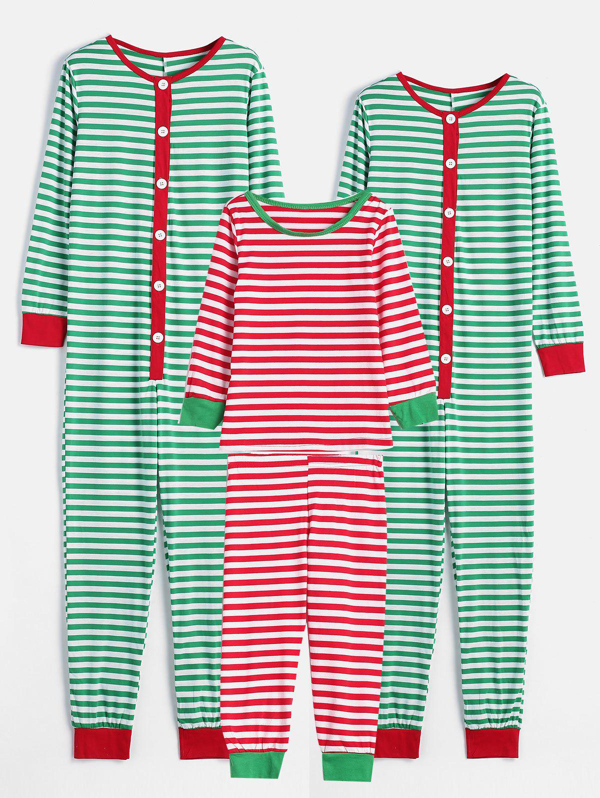 Outfits Striped Print Family Christmas Pajamas