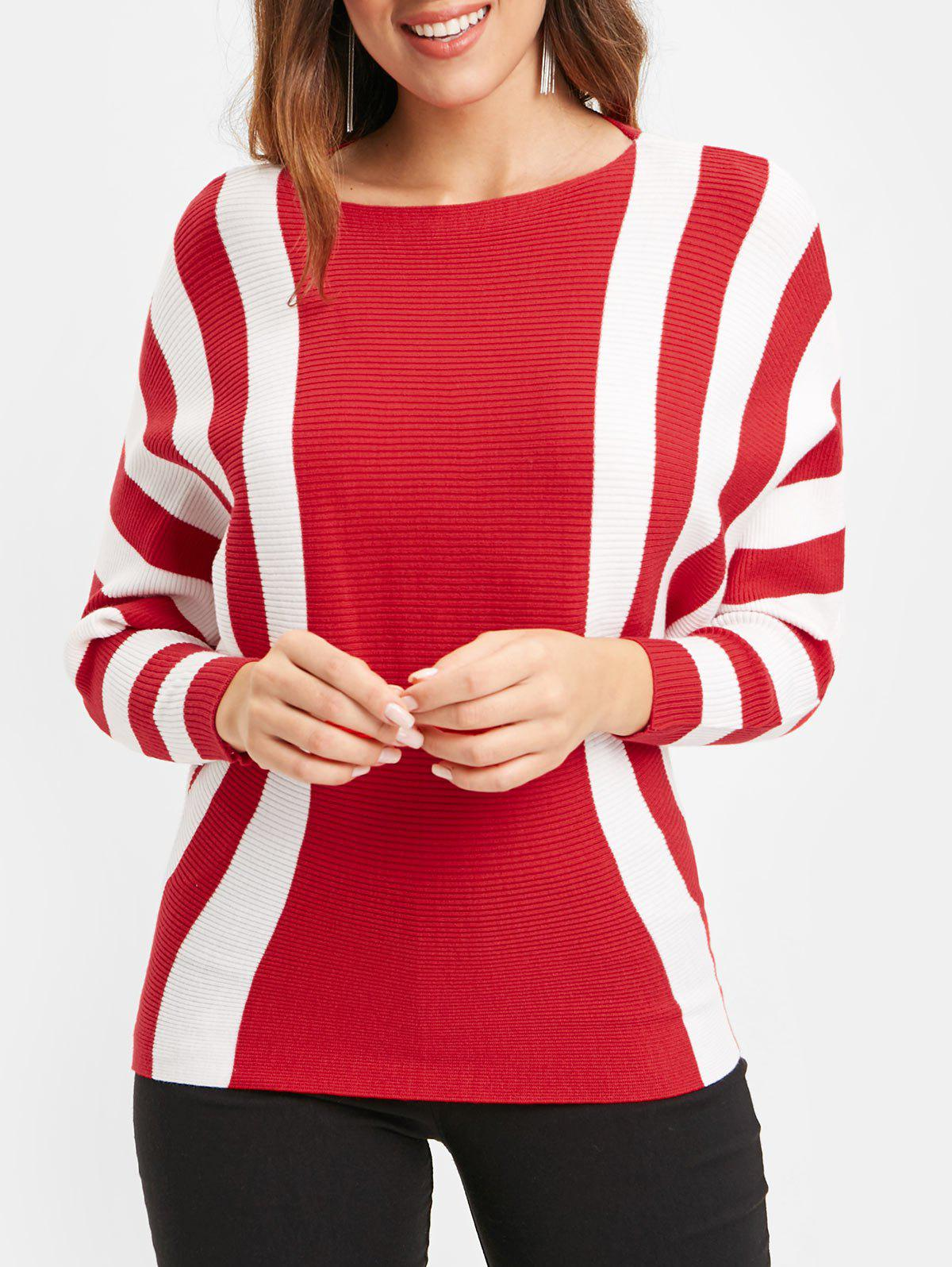 Fashion Ribbed Batwing Sleeve Striped Sweater