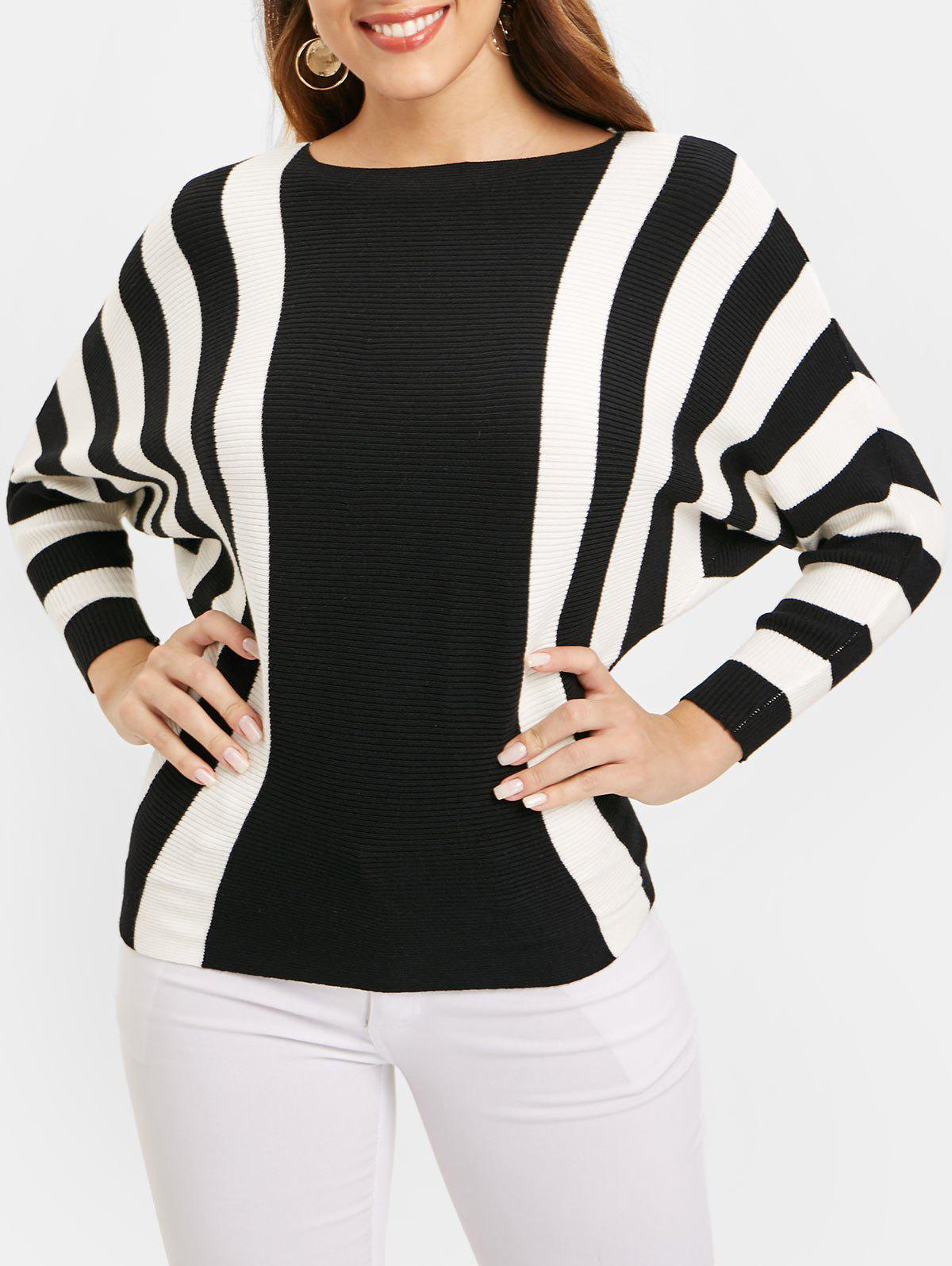 5e2a4951c0 42% OFF   2019 Ribbed Batwing Sleeve Striped Sweater