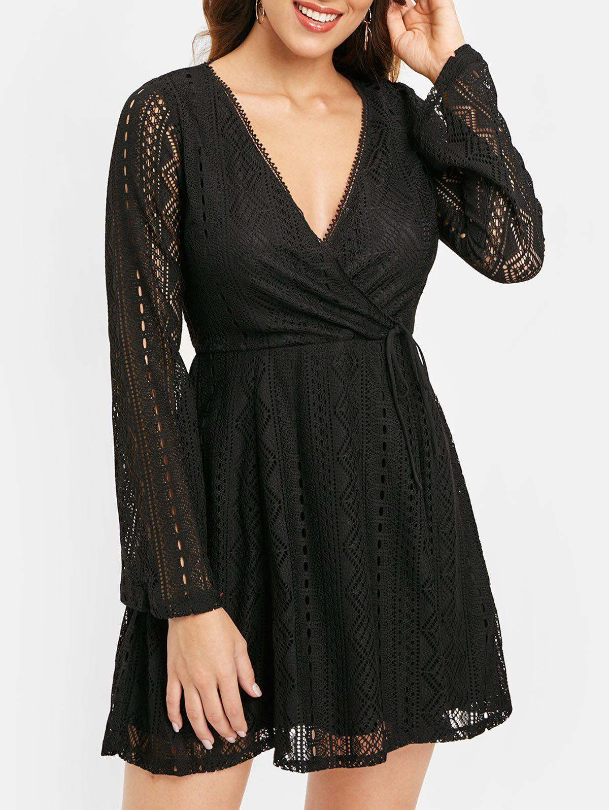 Outfit Long Sleeve Lace Surplice Dress