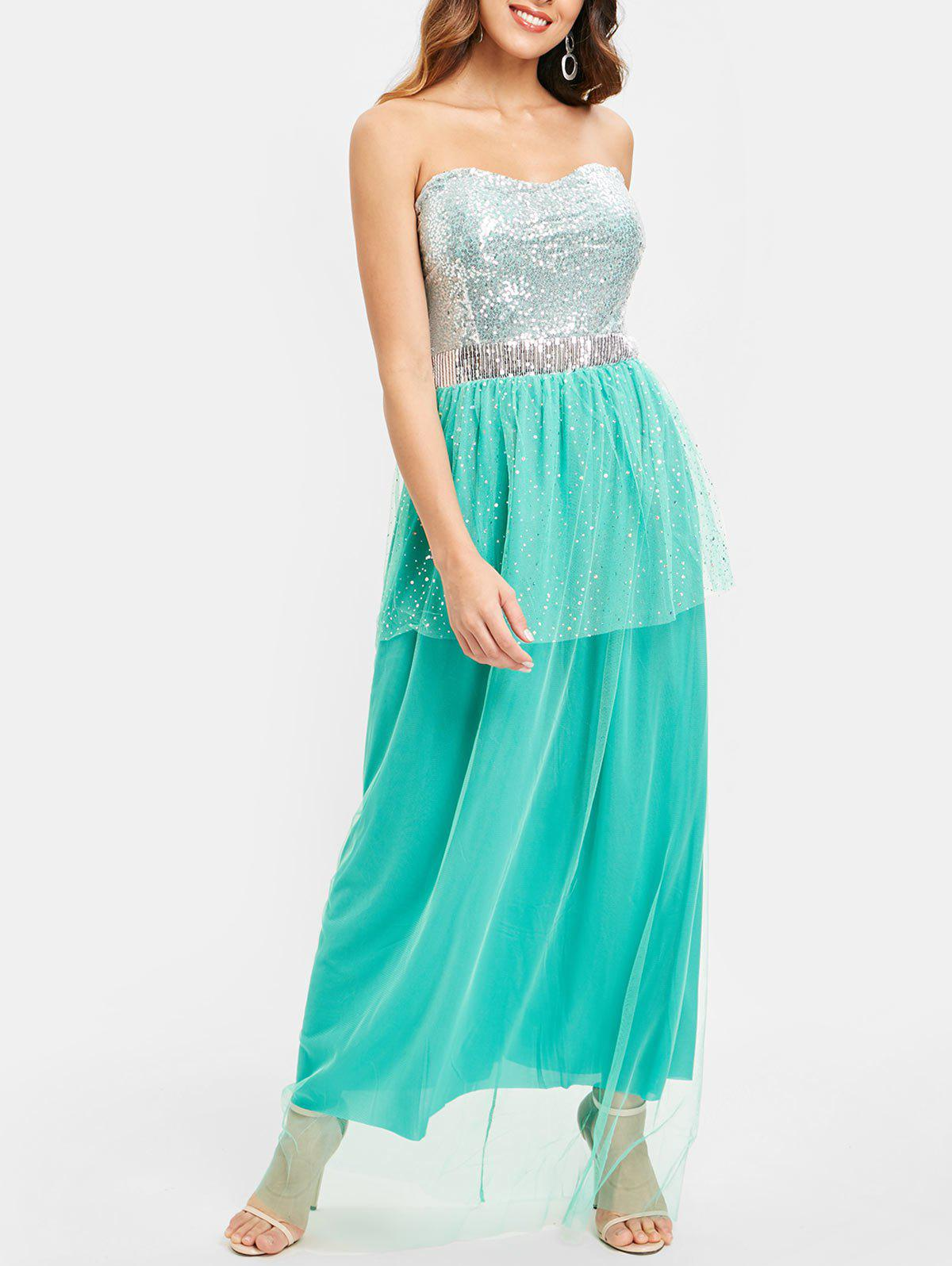 Chic Sequined Bandeau Padded Maxi Evening Dress