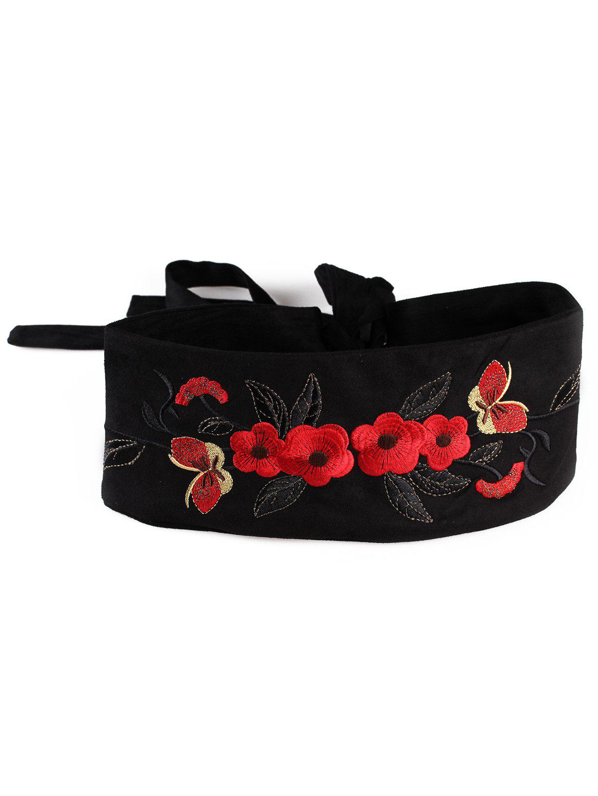 Chinoiserie Flowers Embroidery Flannel Corset Belt