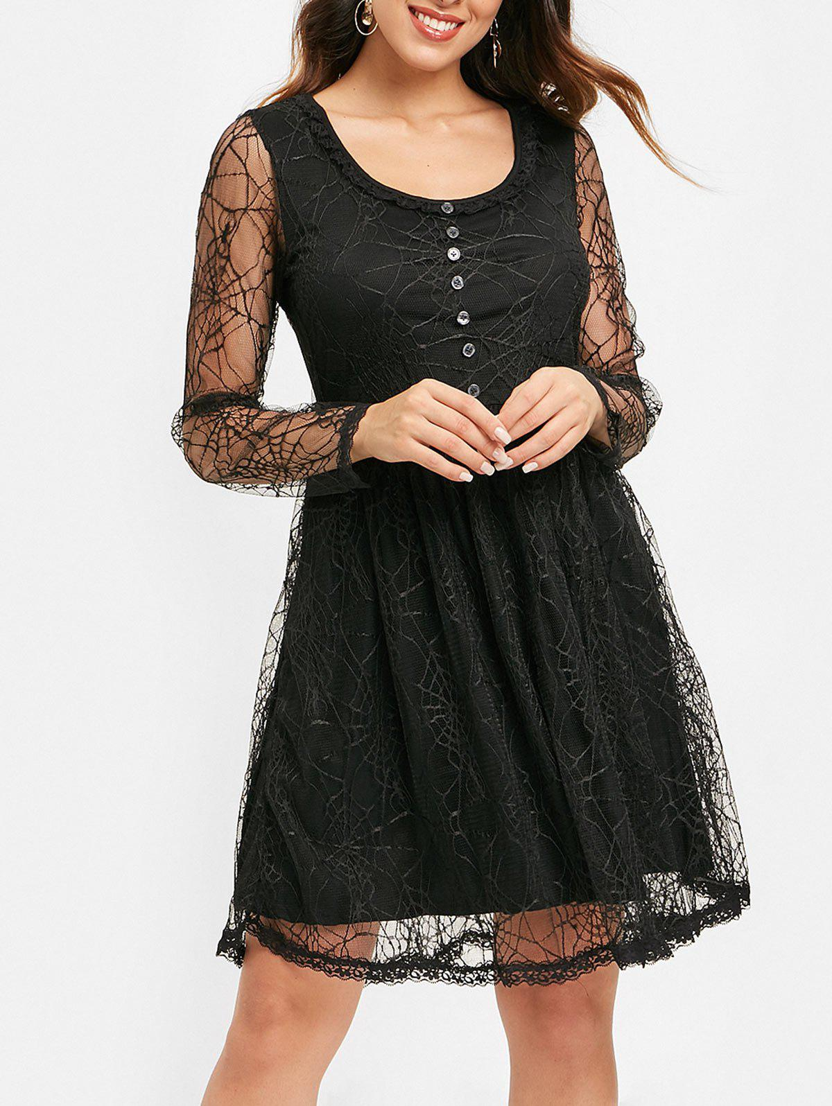 Store Half Buttons Spider Web Lace Dress