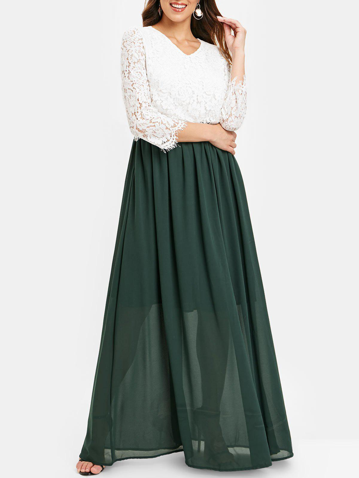 Online Scalloped Lace Bodice Two Tone Maxi Dress