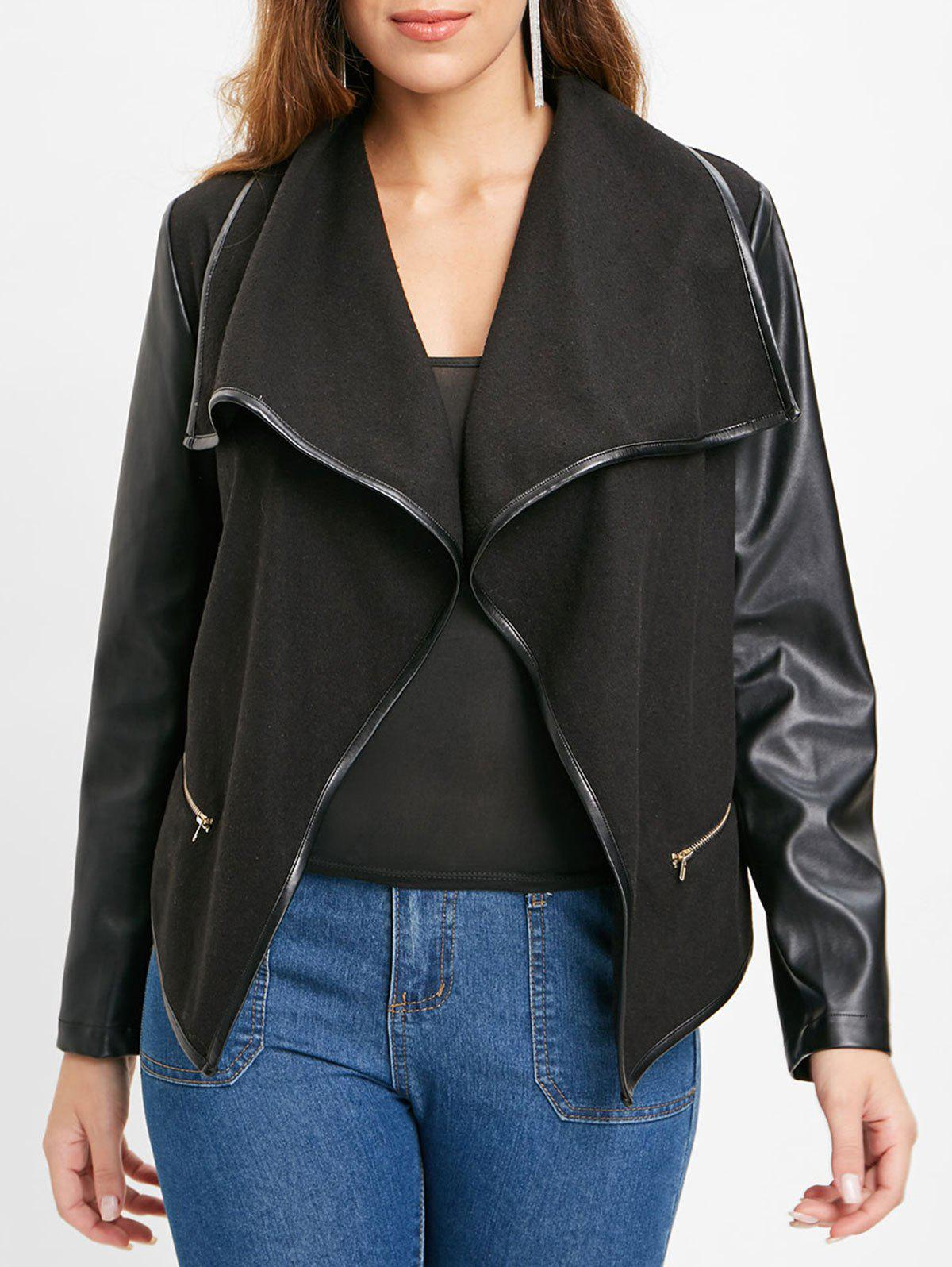 Hot PU Leather Panel Jacket with Zipper