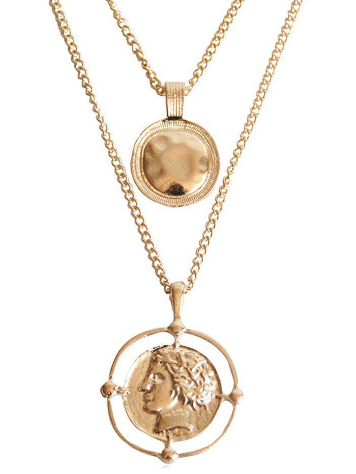 Discount Layered Coins Pattern Pendant Necklace