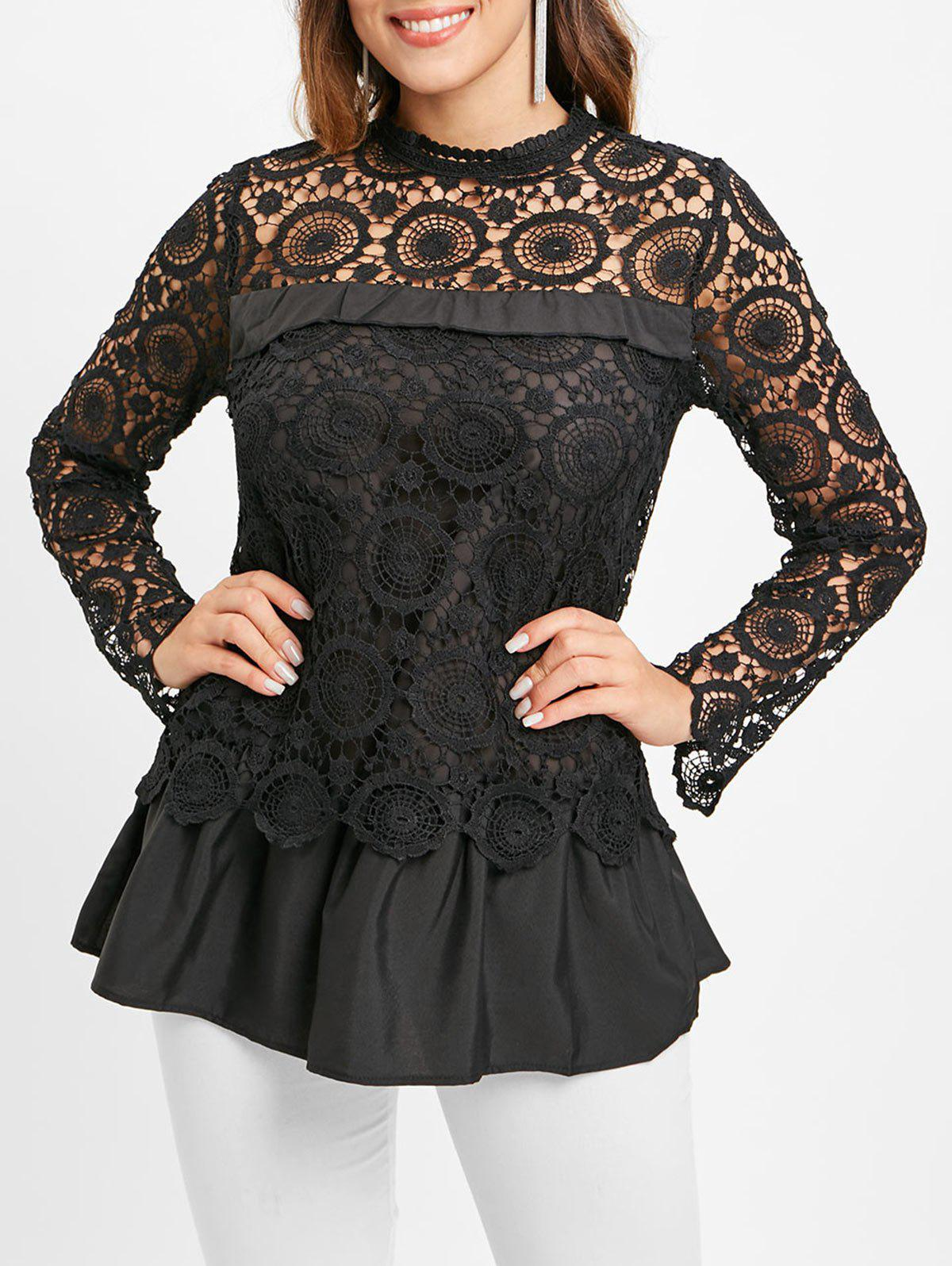 Best Lace Spliced Long Blouse