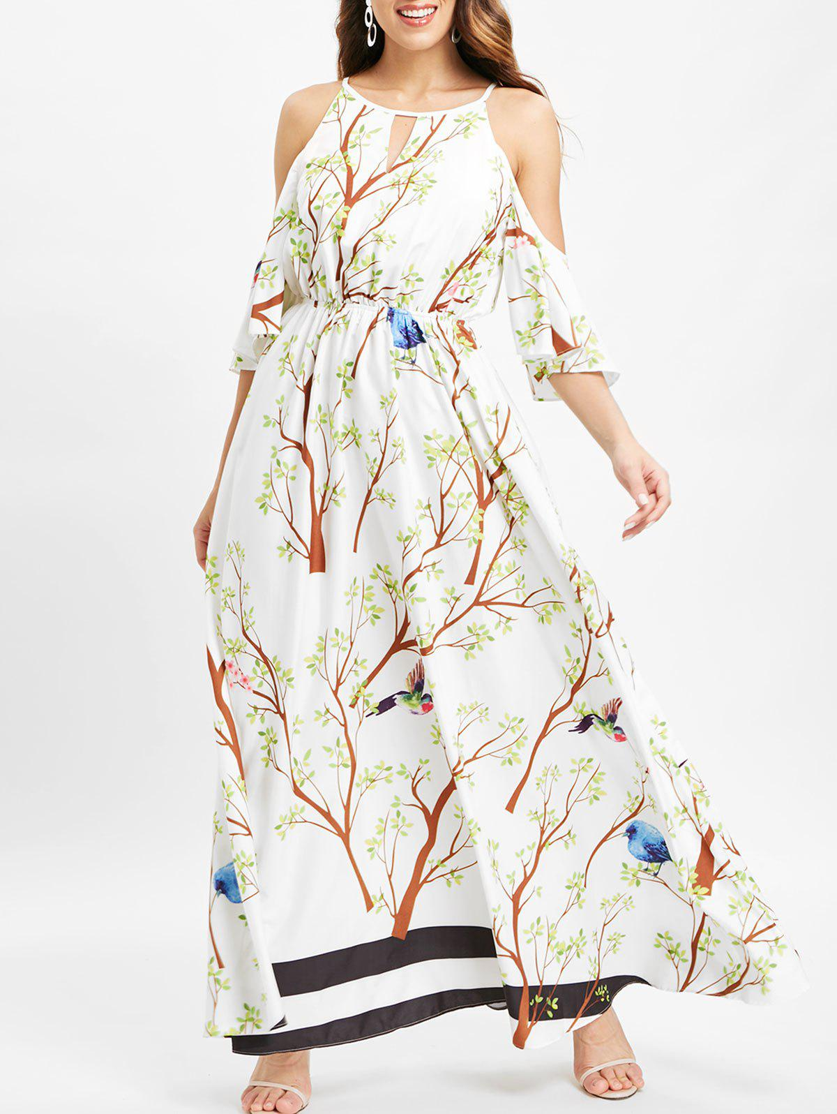 Buy Branch Stirpe Print Cold Shoulder Maxi Dress