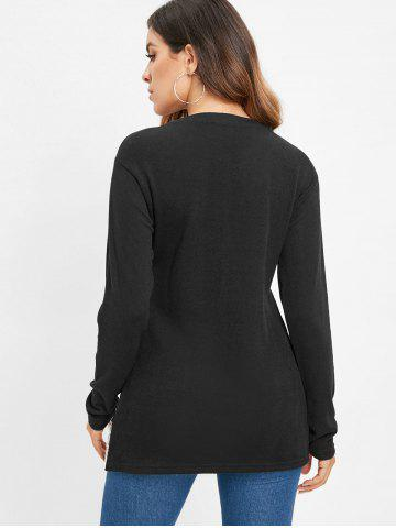 Lace Applique Long Sleeve Tunic Tee