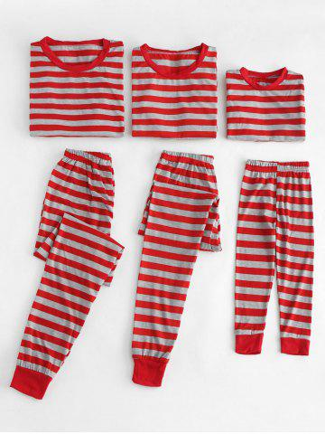 Christmas Striped Print Family Pajamas Set