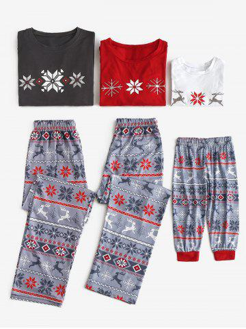 Christmas Patterned Family Matching Pajama Set - MULTI - KID M