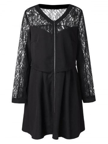 Plus Size Zipper Lace Panel See Through Sleeve Long Blouse
